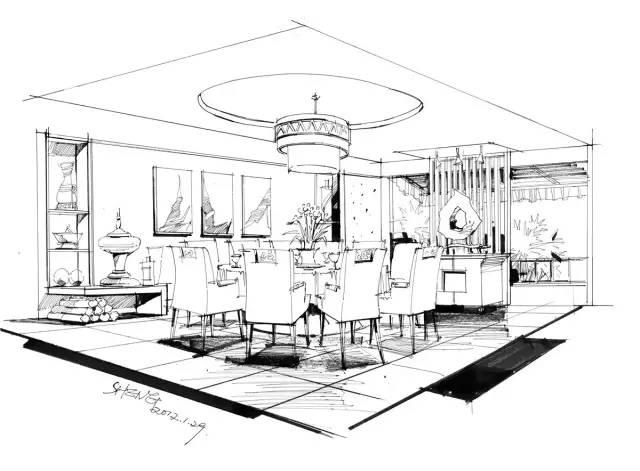 餐厅空间两点透视表现